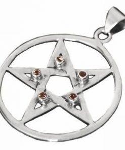 Pentagrama masiva din argint cu cristale de granat