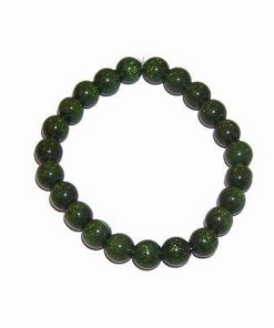 Bratara pe elastic cu sfere verzi pentru prosperitate