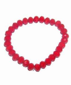 Bratara pe elastic cu cristale rosii, multifatetate, mate