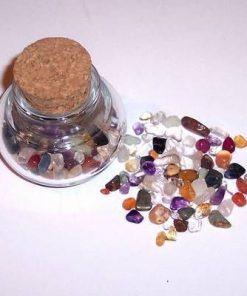 Borcan din sticla cu cristale mix