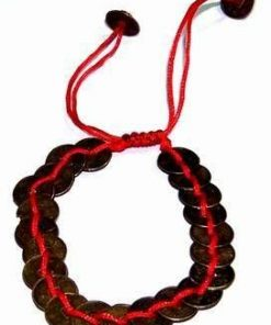 Bratara Feng Shui cu 20 monede antice,pe snur rosu reglabil