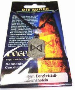 Runa DAGAZ, din metal, cu cristal de stanca - unisex - 24