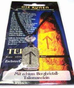 Runa TIWAZ, din metal, cu cristal de stanca - unisex - 17