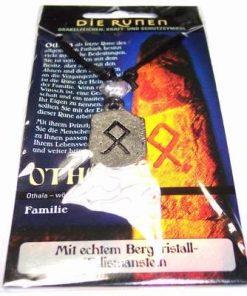 Runa OTHALA, din metal, cu cristal de stanca - unisex - 23