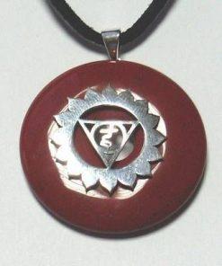 Chakra Vishuddha din argint cu carneol, pe siret negru
