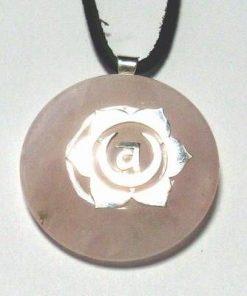 Chakra Svadhistana din argint cu cuart roz, pe siret