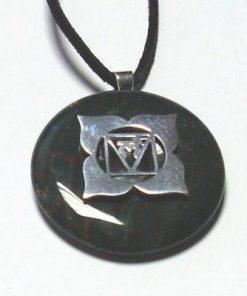 Chakra Muladhara din argint cu heliotrop pe siret negru