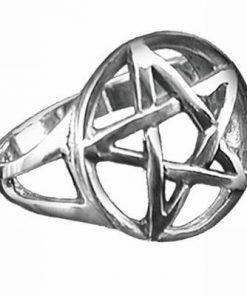 Inel cu pentagrama magica din metal nobil