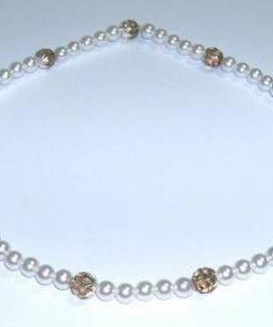 Colier tip perle cu cristale multifatetate tip cuart fumuriu