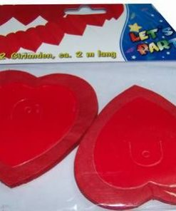 Set de 2 ghirlande Feng Shui cu inimi rosii
