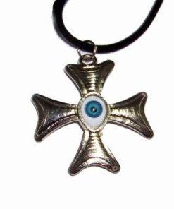 Cruce greceasca cu Ochiul lui Horus pe siret negru
