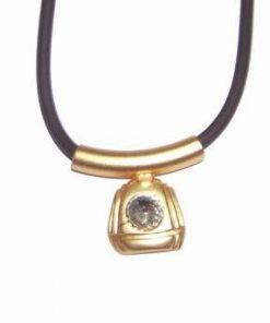 Talisman din metal nobil auriu, cu strass transparent