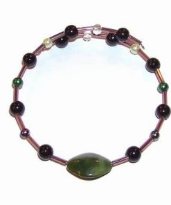 Bratara reglabila cu cristal magic de culoare verde