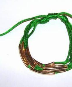 Bratara reglabila verde, cu decoratiuni aurii