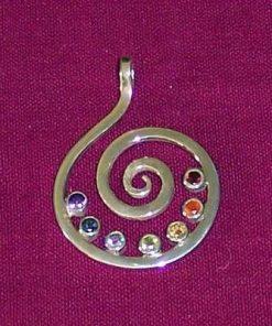 Spirala Kundalini - talisman din argint cu 7 cristale