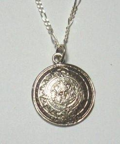Calendarul aztec din argint pe lantisor din argint