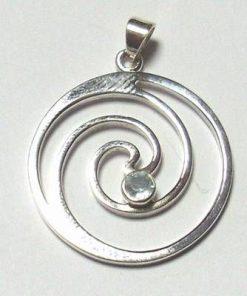 Simbolul Cho-ku-rei din argint cu Acvamarin