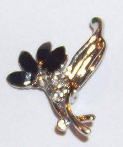 Brosa eleganta-floare deosebita cu cristale negre