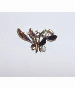 Brosa eleganta-floare argintie cu cristale negre
