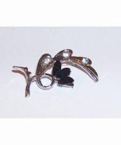Brosa eleganta-floare fantezie, cu cristale negre