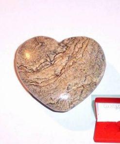 Inima din cristal natural de jasp maro - unicata!