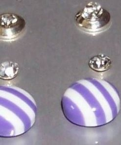 Cercei fantezie: set de trei modele diferite - Mov/alb