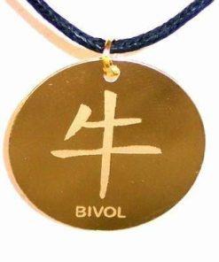 Talisman auriu pe siret negru cerat - Bivol