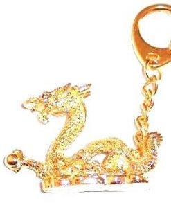 Dragon cu sfera - breloc auriu, din metal