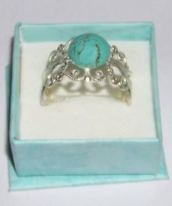 Inel Feng Shui din metal argintat si cristal de turcuaz