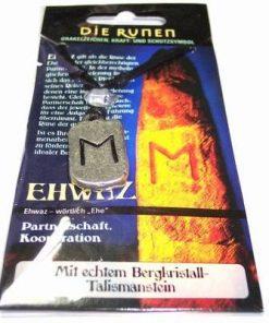 Runa EHWAZ, din metal, cu cristal de stanca - unisex - 19