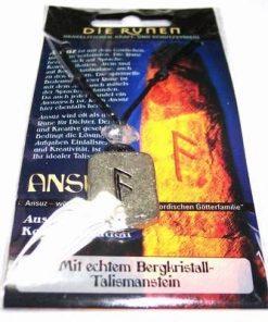Runa ANSUZ, din metal, cu cristal de stanca - unisex - 4
