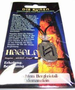 Runa HAGALAZ, din metal, cu cristal de stanca - unisex - 9