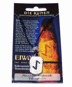 Runa EIWAZ, din metal, cu cristal de stanca - unisex