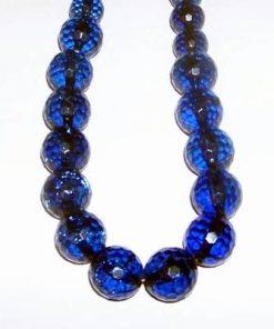 Colier din sfere multifatetate, albastre