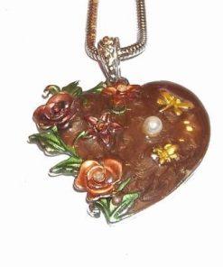 Pandantiv din metal nobil pe lant - Inimioara cu flori