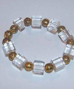 Bratara cu sfere aurii si cuburi transparente