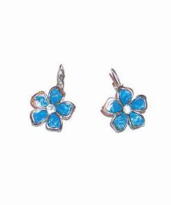 Cercei din metal nobil cu floarea sanatatii bleu