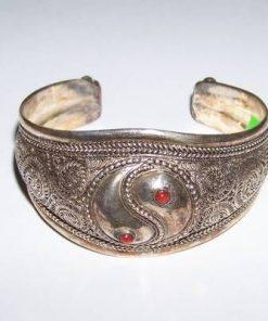 Bratara din metal nobil, argintiu, reglabila - cu Yin-Yang
