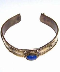 Bratara din metal nobil argintiu, reglabila cu lapis lazuli