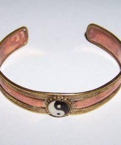 Bratara din cupru si alama cu simbolul Yin - Yang