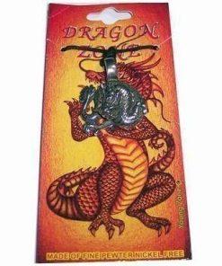 Talisman din metal cu Dragonul Cerului pe siret negru