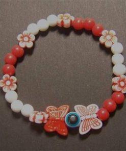 Bratara cu fluture -alb cu rosu 1+1 Gratis