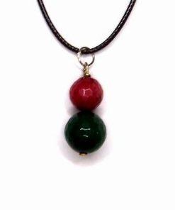 Pandantiv cu sfere rosi si verzi pentru o relatie
