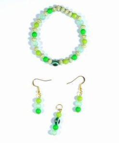 Set fantezie cu cristale verzi si accesori auri