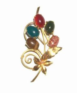 Brosa aurie cu 5 cristale magice din Feng shui