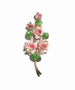 Brosa aurie cu 5 trandafiri ai dragostei