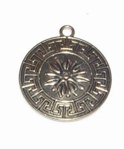 Pandantiv argintiu cu simbolul sanatatii si floare de colt