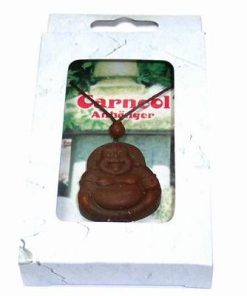 Talisman din carneol cu Buddha razand, cu pepita