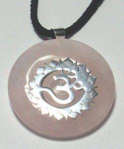 Chakra Sahasrara  din argint cu cuart roz, pe siret negru