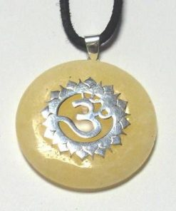 Chakra Sahasrara  din argint cu citrin, pe siret negru